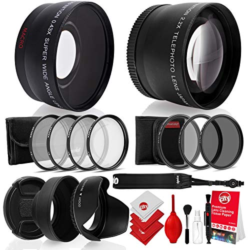 Opteka 52mm 0.43X HD Wide Angle Lens with Macro for Nikon DSLR Bundle with Opteka 52mm 2.2X HD Telephoto Lens and Essential Accessories (8 Items)