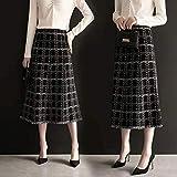 JJCDKL Falda de Tweed a Cuadros Negra de Talla Grande Vintage para Mujer, Falda Larga de Cintura Alta a Media...