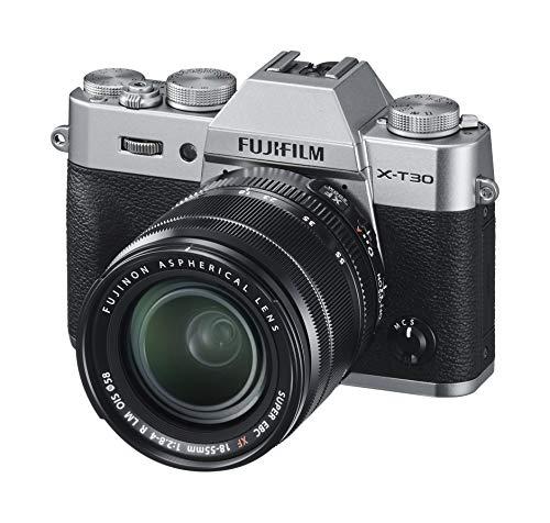 """Fujifilm X-T30 Silver e Obiettivo XF18-55mm F2.8-4 R LM OIS, Fotocamera Digitale da 26MP, Sensore CMOS X-Trans 4 APS-C, Mirino EVF, Filmati 4K 30p, Schermo LCD Touch 3"""" Orientabile, Argento"""