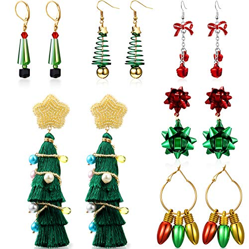 6 Pairs Christmas Earrings for Women Christmas Bow Bell Star Tree Drop Dangle Earrings