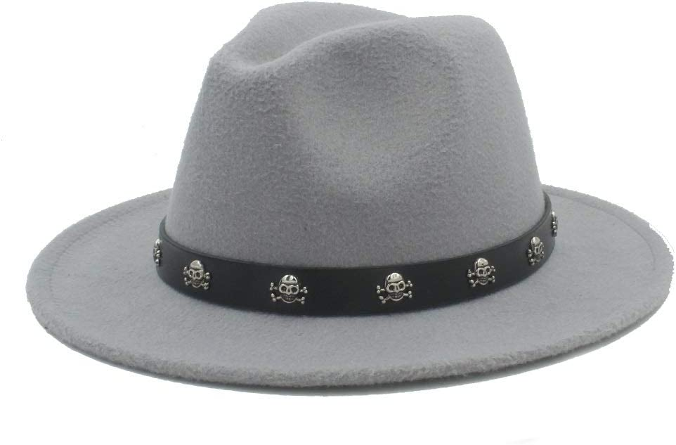 HXGAZXJQ Men Women Fedora Hat with Skull Rivet Panama Hat Pop Wide Brim Jazz Hat Church Fascinator Hat Size 56-58CM (Color : Light Gray, Size : 56-58)