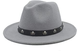 SHENTIANWEI Men Women Fedora Hat with Skull Rivet Panama Hat Pop Wide Brim Jazz Hat Church Fascinator Hat Size 56-58CM