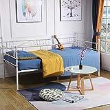 DORAFAIR Cama Metálica diván Cama Individual Marco de Cama para Niños Habitación Habitación Dormitorio Balcón Jardín Cama 95 x 195,Blanco