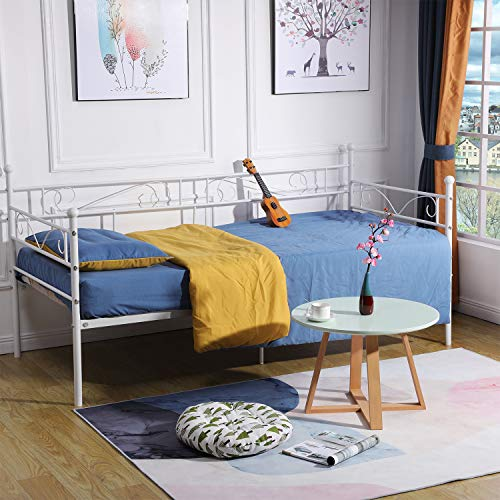 DORAFAIR Metal Daybed Frame with Solid Metal Slat for Living Room Guest Room Children Room, Fits for 3ft 90x190cm Mattress, White