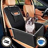 Looxmeer Asiento Coche Perro Pequeño Mediano Impermeable Homologado, Funda Asiento Delantero para Mascotas, Cubre de Perro Lavable Plegable para Viajes, 58x50x38cm, Borde Gris