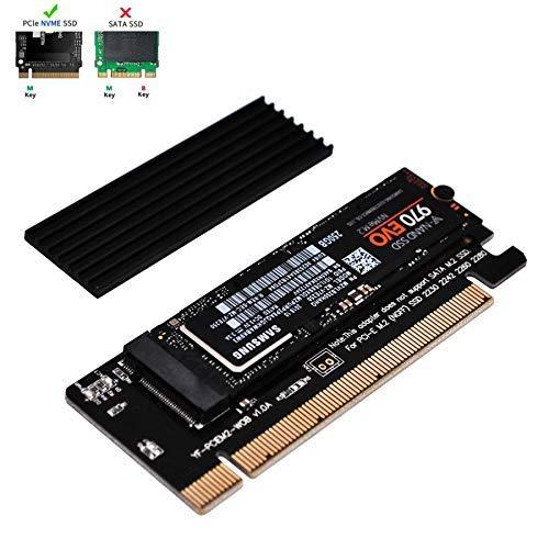 EZDIY-FAB NVME PCIE Adapter mit Kühlkörper, M.2 NVME SSD zu PCI Express Adapter mit Kühlkörper Unterstützt nur PCIe x16, unterstützt M.2 M Key SSD 2230 2242 2260 2280