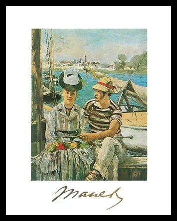 Germanposters Edouard Manet Argenteuil - Póster artístico (marco de aluminio, 30 x 24 cm), color negro