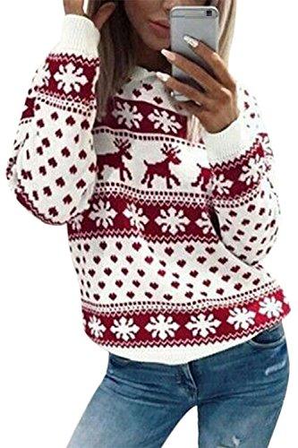 YACUN Donna Felpa Maglione con Renna di Natale Top A Maniche Lunghe Magliette Pullover Red S