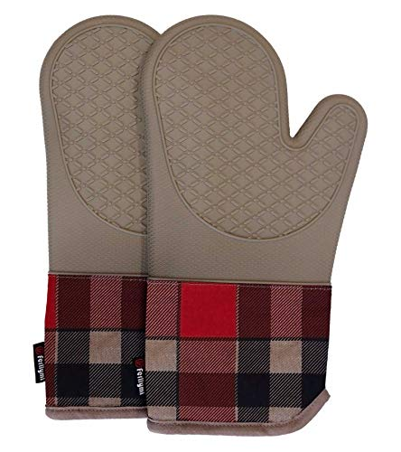 Heat Resistant Silicone Shell Kitchen Oven Mitts for 500 Degrees with waterproof, Set of 2 Oven Gloves with cotton lining for BBQ Cooking set Baking Grilling Barbecue Microwave Machine Washable Tan-1