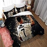 Meet Ensemble De Literie Housse De Couette Football Cristiano Ronaldo 3 Housses De Couette/Taies d'oreiller, Simple, Très Grand Lit, 80% Polyester 20% Coton (Style 04,200x200cm(1.5M/1.8MBed))