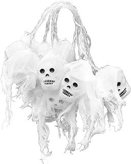 Toyvian Halloween Skull String Lights LED White Gauze Skull Outdoor Decorative String Lights for Halloween Party Supplies ...