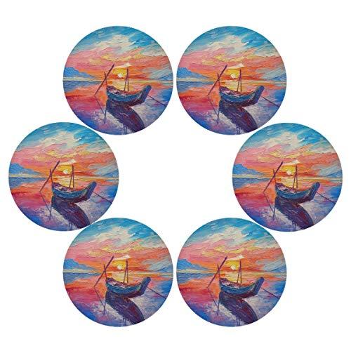Lihuaval - Juego de 6 manteles individuales redondos de acuarela para barco de mar, antideslizantes, resistentes al calor, lavables para mesa de comedor, cocina, decoración del hogar