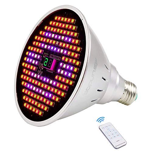 ASUNDOM LED Grow Light Bulb,Full Spectrum 24W Plus Grow Lights with Timer & Three Mode Switch for Indoor Plants Veg and Flower (Veg/Bloom/Full Modes,Free E27 Clamp)