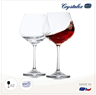 Large Red Wine Glasses Set of 2 - Long Stem best for Burgundy, Bordeaux, Merlot, Red or White Wine, Crystal Clear Universal Wine Glass by Crystalex, 19.2 Ounces