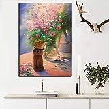 hetingyue Impresiones Modernas Grandes florero Pintura al óleo Abstracta sobre Lienzo Arte de la Pared Imagen Moderna decoración de la Sala de Estar 40x60cm