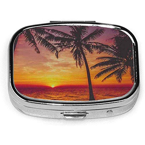 Square Pill Case With 2 Compartment Portable For Pocket Purse Travel Sunset Palm Tree Tropical Paradise Ocean Beach Scene With Wave Nature
