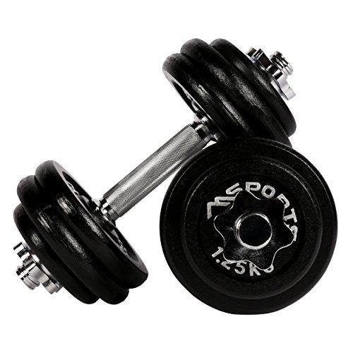Msports Set di 2 manubri professionali in ghisa, da 30 kg (2 x 15 kg), 30 kg – ghisa.