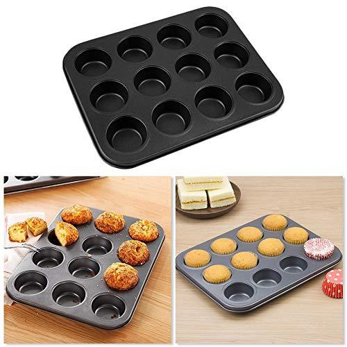 Molde para tartas, 12 agujeros antiadherentes, con revestimiento antiadherente, para magdalenas o magdalenas.