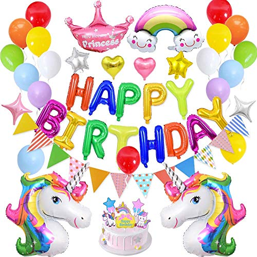JIASU Unicorn Balloons Birthday Party Decorations Party Supplies Happy Birthday Set,Huge 3D Unicorn Balloon,Cloud,Happy Birthday Banner,Star Balloons,Crown and Latex Party Balloons for Boys Girls