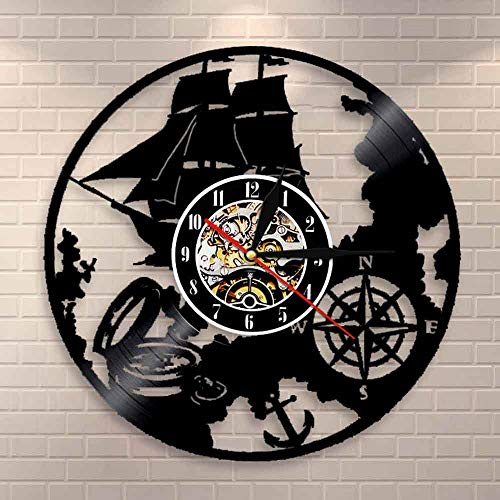 BFMBCHDJ Navigationsthema Schallplatte Wanduhr Sailor Magical Wandleuchte Nautical Vintage Design LED Nachtlicht