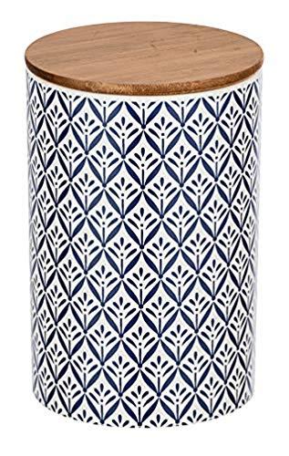 WENKO Aufbewahrungsdose Lorca, 1,45 l, Frischhaltedose mit Bambusdeckel und Silikonring zur luftdichten & aromafrischen Aufbewahrung, aus hochwertiger Keramik, Ø 12,5 x 18,5 cm, Mehrfarbig
