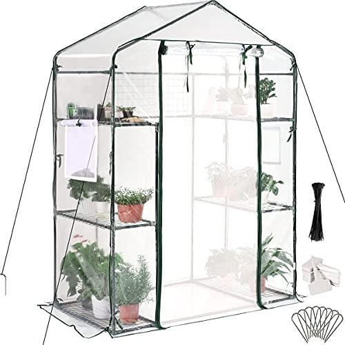 Quictent Mini Walk-in Greenhouse 3 Tiers 6 Shelves Plants Garden Green House for Indoor Outdoor 56