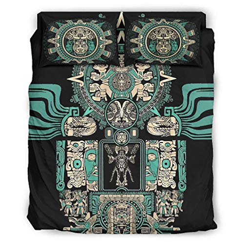 Hothotvery 4 Piece Bed Linen Sets Printed Native Tribal Jaguar Warrior Folklore 4-Piece Bed Linen Breathable Duvet Cover Set Christmas Quilt Cover and Pillow Shams White 228 x 228 cm