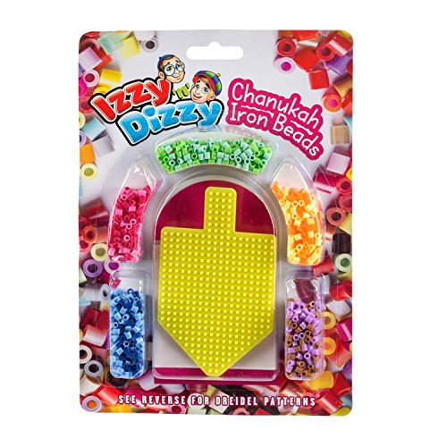 Izzy 'n' Dizzy Chanukah Iron Fuse Beads Kit - Includes 1 Dreidel Pegboard - 8.5 x 12 - Hanukah Arts and Crafts and Games