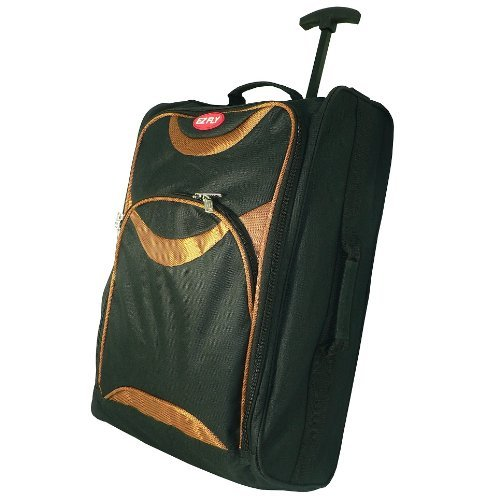 EZ FLY AIR CABIN TROLLY BAG. TRAVEL BAGS. CARRY LUGGAGE. PULL HANDLES. WHEELED. ORANGE