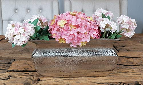 MichaelNoll vaas bloemenvaas pot bokaalvaas decoratieve ovaas aluminium zilver 30 cm
