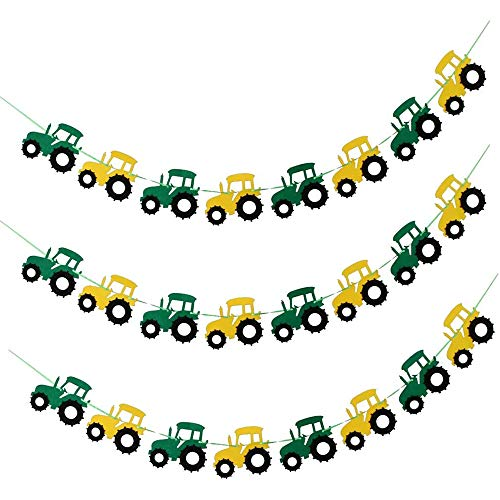 POFET 3pcs Cool Tractor Car Design Felt Bunting Banner Garland Sign Baby Shower Boy Birthday Party Indoor Outdoor Décor