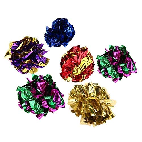 BSDIHRIWEJFHSIE 6/12/24pcs Cat Toy Mylar Balls Colorful Ring Paper Shiny Interactive Sound Ball Crinkly Balls for Cats Sound Toys Pet Play Balls-6pcs,M,Russian Federation
