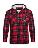 shelikes Unisex Mens Fleece Sherpa Fur Lined Lumberjack Hood Check Quilted Thermal Shirt [RED/Black (Hooded) XXXL]