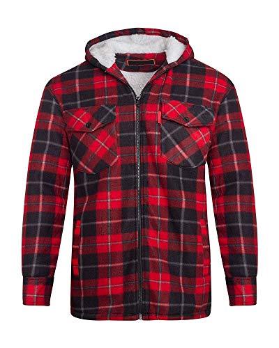 shelikes Herren Fleece-Hemd mit Sherpa-Fell gefüttert, Holzfäller-Kapuze, gesteppt, Thermohemd Gr. XXL, Rot/Schwarz (Hooded)