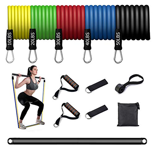 Kaijian Resistance Bands Bar Protable Pilates Bar Kit with Exercise Bands Workout Bands Bar Strength Training Home Gym Equipment