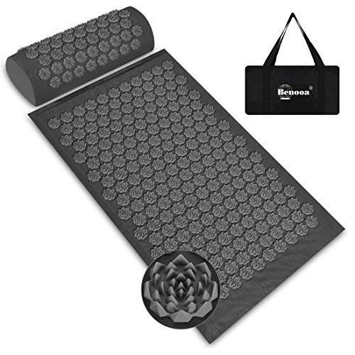 Benooa Acupressure Mat and Pillow Set for Back/Neck Pain Relief, Acupuncture Mats Pranamat Massage Mat for Muscle Relaxation Relieves Stress and Sciatic Pain with Carrying Bag for Storage