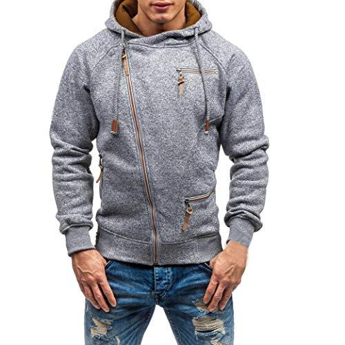 Realdo Mens Sweatshirt, Cool Casual Autumn Winter Solid Slim Zipper Hooded Sweatshirt Outwear Tops Blouse(Large,Gray)
