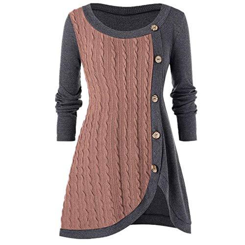 N\P Suéter de punto de manga larga con cuello redondo para mujer grande