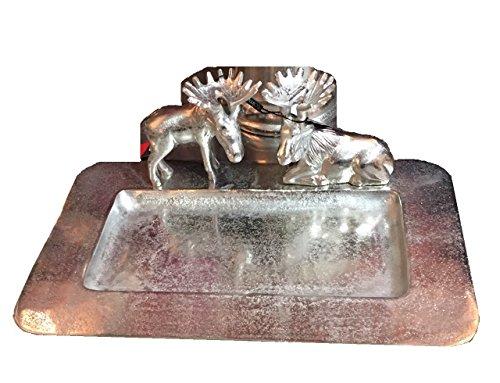 Colmore Schale Elch 41x26cm Servierschale Alu gehämmert Tablett Silber Deko