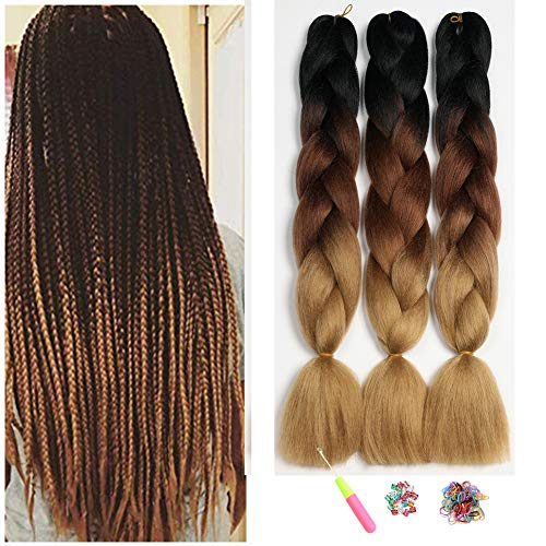Kanekalon Jumbo Ombre Braiding Hair 3 Tone 24',Showjarlly Ombre Braid Hair Extension High Temperature Fiber 3pcs/Lot 100g/pc For Crochet Twist Braiding Hair (24'-60cm, 1B/Dark Brown/Light Brown)