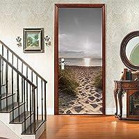 sesemao3Dインテリアドアベッドルームステッカードアステッカー防水粘着紙リビングルームベッドルームオフィスバスルームファミリーサンセットビーチ-88 * 200