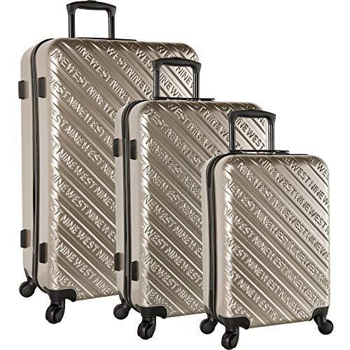 Nine West 3 Piece Hardside Spinner Luggage Set, Gold