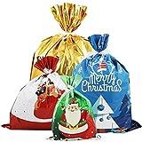 PHYLES Bolsas de Regalos Navidad, 20 Unidades de Estilos Surtidos para Envolver Bolsas de Regalos Navideños, Grandes, Medianas, Pequeñas y Cintas para Decoraciones Navideñas