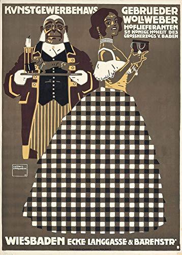 Vintage bieren, wijnen en sterke drank 'Kunstgewerbehaus Gebrueder Wollweber', Duitsland, 1908 door Ludwig Hohlwein, 250gsm Zacht-Satijn Laagglans Reproductie A3 Poster