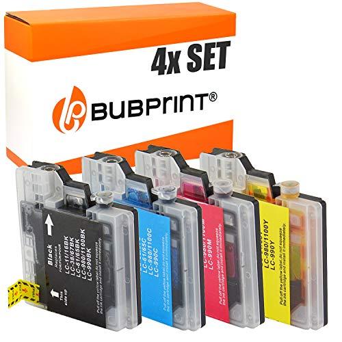 4 Bubprint Druckerpatronen kompatibel für Brother LC-1100 LC-980 für DCP-145C DCP-195C DCP-165C MFC-250C MFC-490CW MFC-5490CN MFC-5890CN MFC-6490CW