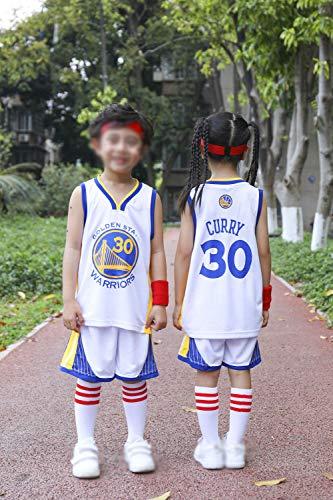 Abiti da Allenamento per Il Pallone da Pallacanestro per Bambini, Golden State Warriors # 30 Stephen Curry Camicia da T-Shirt Senza Maniche Sportswear E Pantaloncini da Basket,Bianca