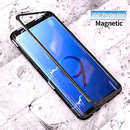 SHOPKART Ultra Slim Magnetic Cover Metal Frame and Tempered Glass Back, Built-in Powerful Magnet Wireless Charging Support Full Protection for Samsung S9 Plus (Black)
