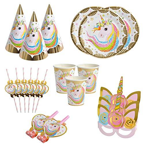 BETOY Gebutstag Party Set Einhorn Party-Set 36-pcs Pink Mädchen Einhorn Geburtstag Geschirr Kit Teller Becher für 6 Kinder Geburtstagsgeschenk,Kindergeburtstag,Party Deko,Baby Shower