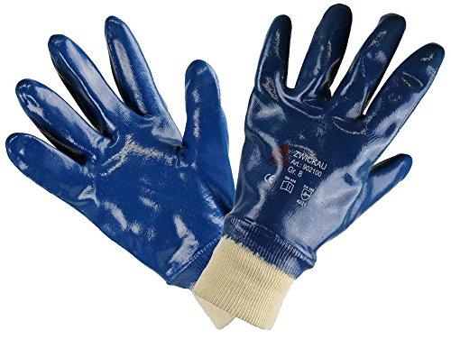 12 Paar - ZWICKAU, 5-Fg.-Sicherheitshandschuhe Nitril blau, vollbesch. - HASE - 902100 - Größe 9