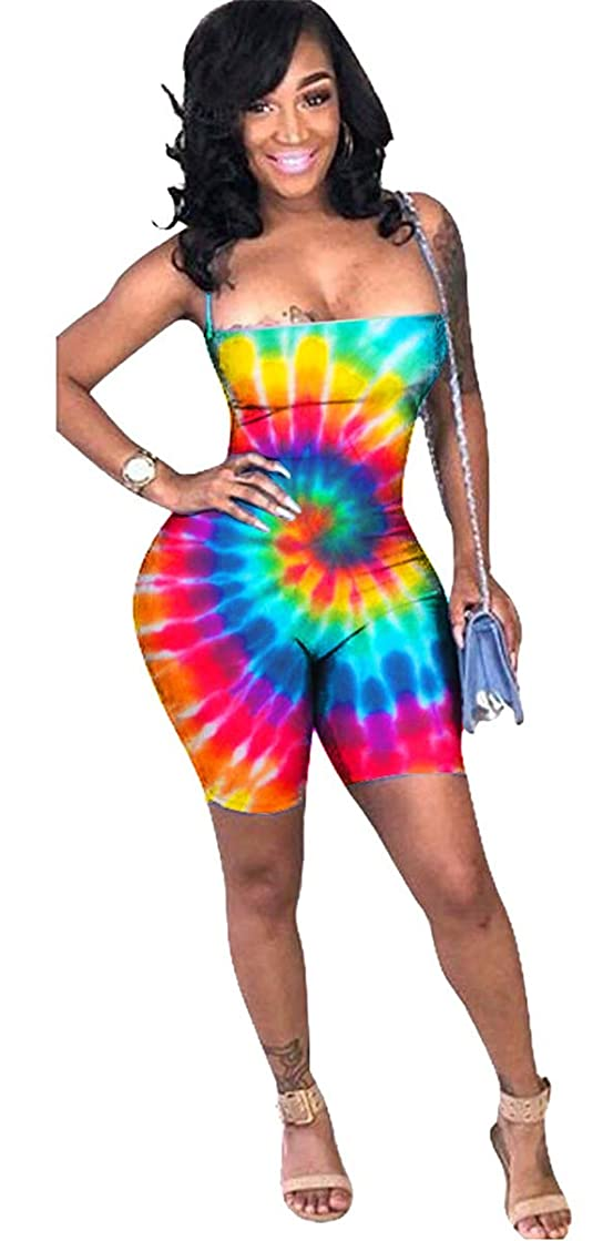 Womens Sexy Sleeveless Lace Up Tie Dye Printed Bodycon Shorts Party Clubwear Jumpsuit Rompers